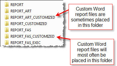 Files for custom Word reports are placed in one of these two folders